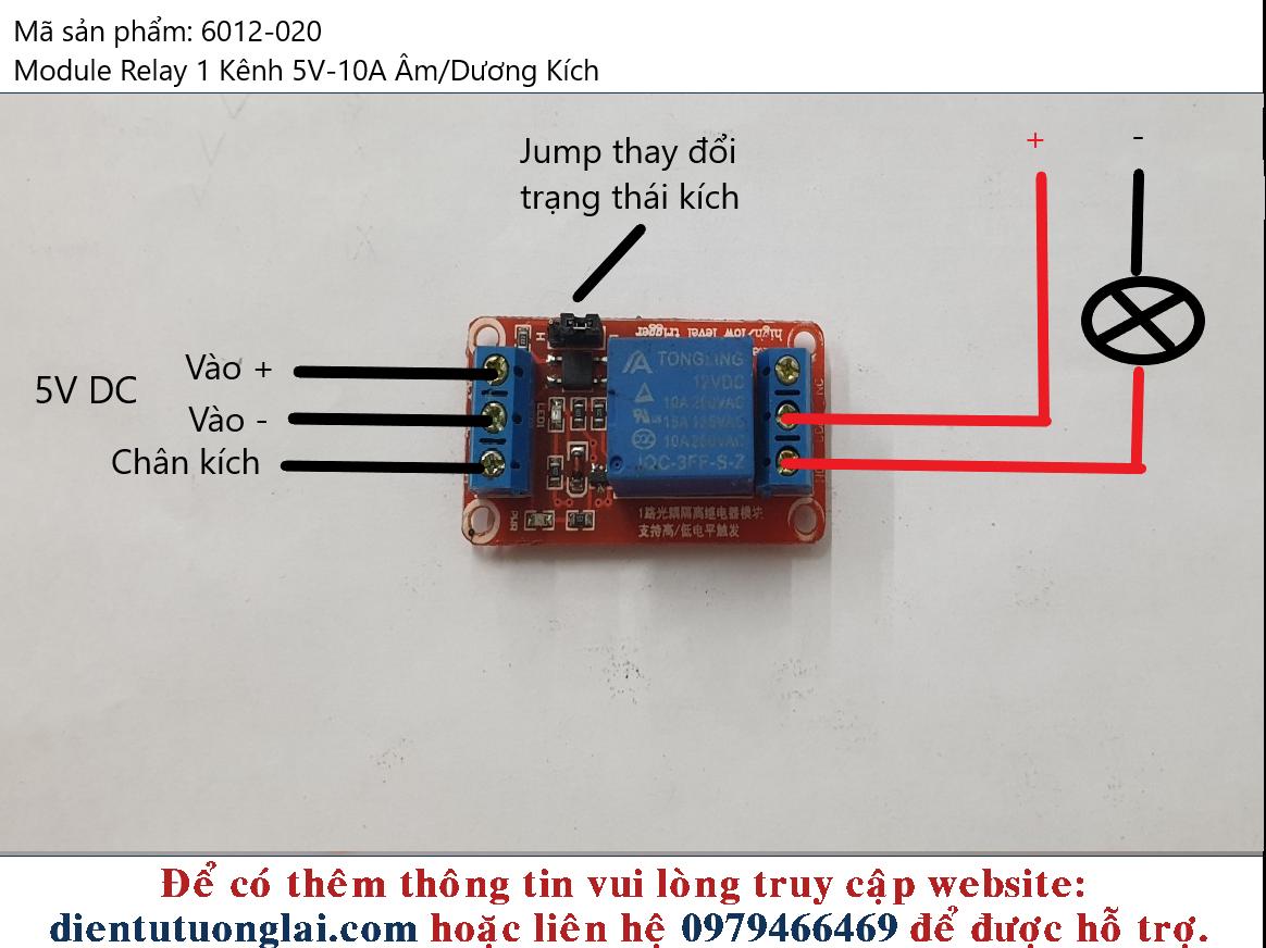 Module Relay 1 Kênh 5V-10A Âm/Dương Kích